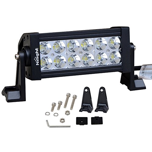 Nilight 7 36w Spot LED Work Light Off Road LED Light Bar 12v Driving Lights Super Bright for Jeep Cabin Boat SUV Truck Car ATVs,2 Years Warranty