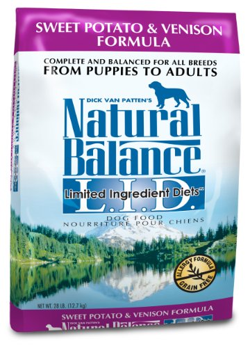 Natural Balance Dry Dog Food, Grain Free Limited Ingredient Diet Venison and Sweet Potato Recipe, 28 Pound Bag