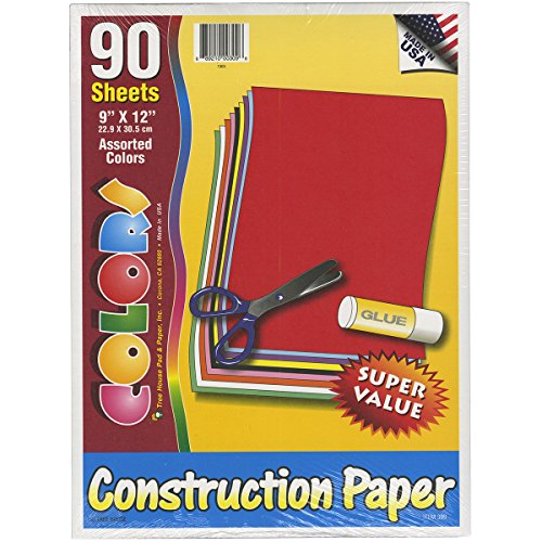 Construction Paper Pack - Assorted Colors - 9 x 12 inches - 90 sheets - Made in the USA - 1