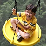 (Yellow) Super Spinner FUN Child Swing, Tire Swing, Belt Disc, For Easy Swing Set Or Tree Install