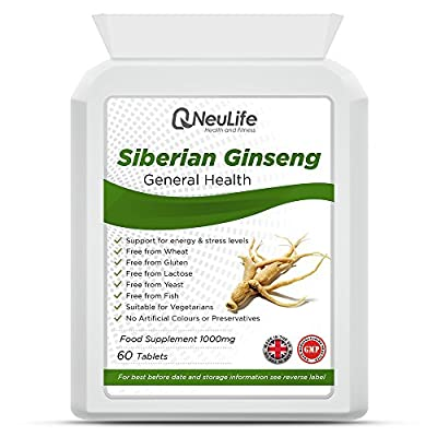Siberian Ginseng 1000mg - 60 Tablets - by Neulife Health and Fitness from Neulife Health and Fitness