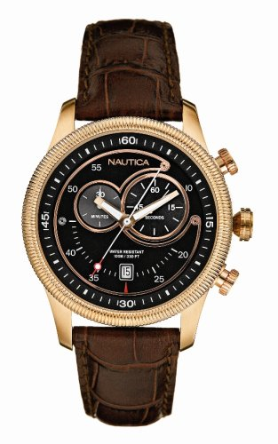 Nautica A18551G Gents Polished Rose Gold and Black Chronograph Watch With Brown Croco Strap