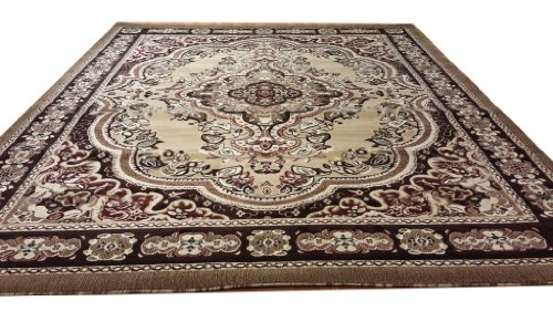 E520 Victorian Traditional Medallion Plush Beige Berber 5x8 Actual Size 5'3x7'2 P59.jpg