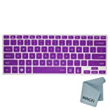MiNGFi Silicone Keyboard Cover Protector Skin for 13.3 Samsung ATIV Book NP940X3G NP900X3E NP900X3C NP900X3D NP900X3F series US Keyboard Layout - Translucent Purple
