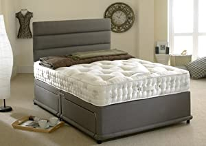 Happy beds 1400 silver divan bed set organic pocket sprung for King size divan bed no mattress