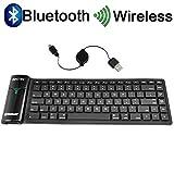 BESTEK Bluetooth keyboard  ブルートゥースキーボード 折りたたみ  巻取シリコン iPad/iphone スマホ/タブレット/パソコン適用  BTBK6116