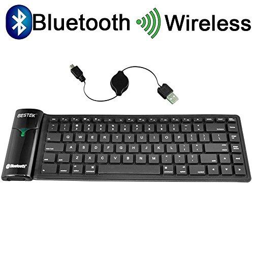 BESTEK® Bluetooth キーボード 巻取シリコン 超薄・静音・防水・防塵 折りたたみ式 ワイヤレス ブルートゥースキーボード iPad/iPhone/Android/アンドロイド/スマホ/タブレット/パソコン適用 wireless bluetooth keyboard BTBK6116