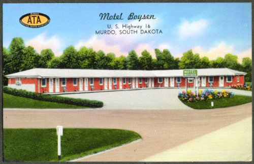 Motel Boysen US 16 Murdo SD postcard 1950s
