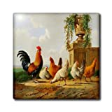 ct_179471_7 Florene - Country Life - image of vintage dutch painting of chickens - Tiles - 8 Inch Glass Tile