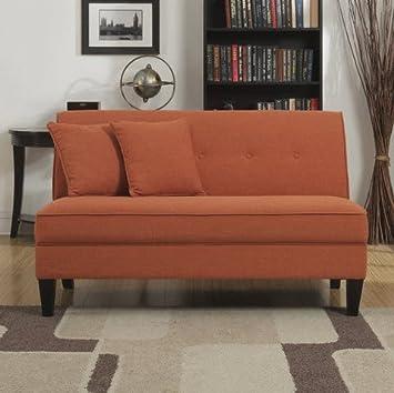 Portfolio Engle Modern Orange Linen Armless Loveseat Settee Small Sofa
