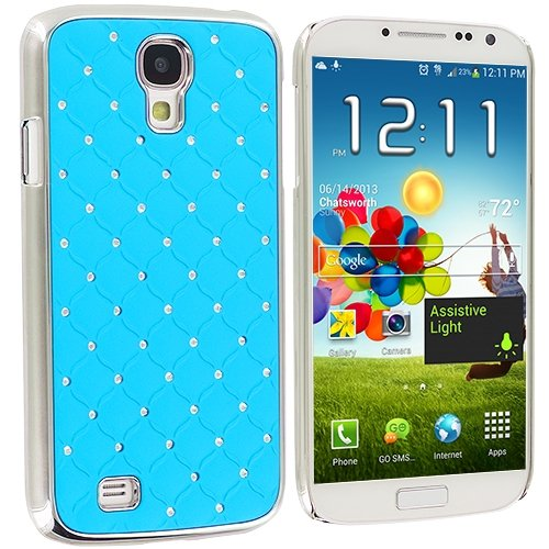 Cell Accessories For Less (Tm) Baby Blue Diamond Aluminum Metal Hard Case Cover For Samsung Galaxy S4 // Free Shipping By Thetargetbuys front-985916