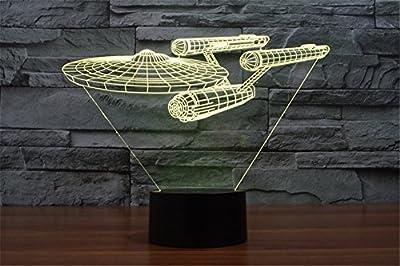 LOTOS® Star Trek Battleship 3D Optical Illusion Multi-colored Change Touch Botton Desk Lamp Table Light