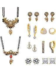 Zeneme Copper Gold-Plated 2 Mangalsutra Earrings Set & 6 Earrings - Combo Of 8 Jewellery For Women