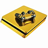 abcGoodefg Vinyl Decal Skin Stickers Cover Protective Console and Controller Skin Sticker for PS4 Slim (Gold) (Color: Gold)