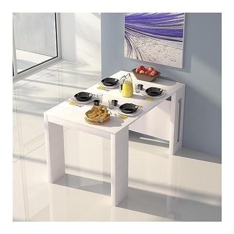 Table console Extend réductible en cm 186/80x 80/45x H76cm en mDF blanc terraneo el540b