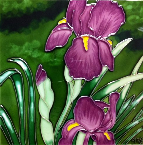Continental Art Center BD-0541 8 by 8-Inch Lavender Iris Ceramic Art Tile