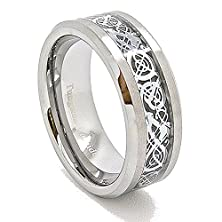 buy Unique 8Mm Silver-Colored Celtic Dragon Inlay With Satin Finished Tungsten Carbide Wedding Band Size 13