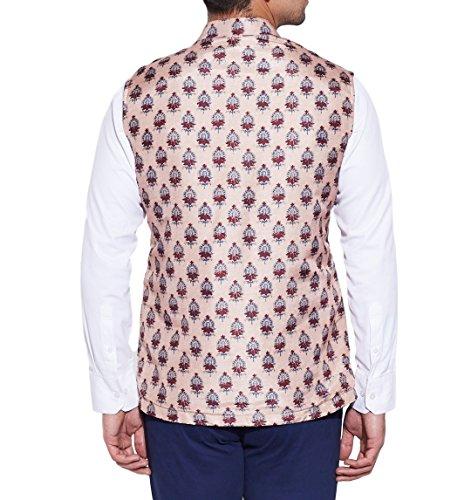ShalinIndia Men Digitally Printed Faux Silk Nehru Collar Jacket 3 Front Pocket,M-DNJ40-1308,Cream,Size-40 Inch