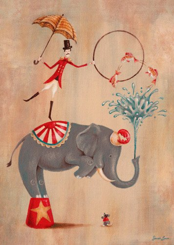 Oopsy daisy, Fine Art for Kids Vintage Circus Elephant Stretched Canvas Art by Sarah Lowe, 10 by 14-Inch