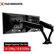 FLEXIMOUNTS M6H Heavy Duty Dual Arm LCD Arm ,Full Motion Desk Mount With Swivel Gas Spring Monitor Arm,8.8-22...