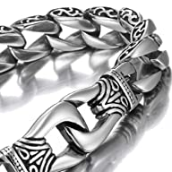 Amazing Stainless Steel Men's link Bracelet Silver Black 9 Inch