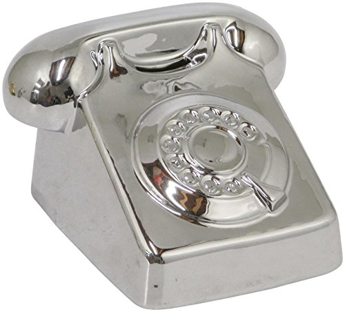 Three Hands Ceramic Telephone Bank, Silver