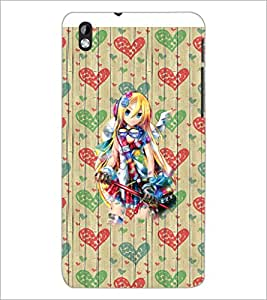 PrintDhaba Cute Girl D-3201 Back Case Cover for HTC DESIRE 816 (Multi-Coloured)