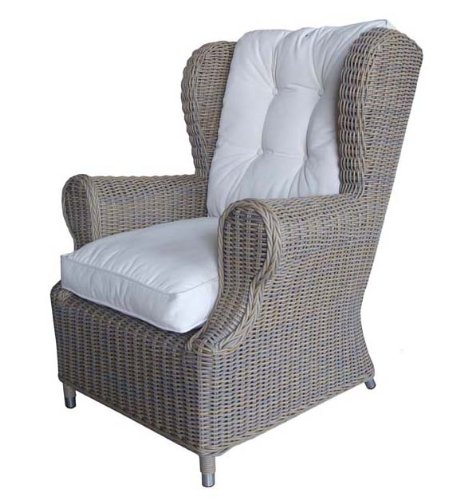 Padma's Plantataion Outdoor Wing Chair, Kubu with White Outdoor Cushion picture