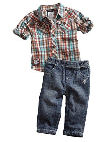 Guess Kids Newborn Boy Plaid Shirt And Jeans Set (0-9M), Plaid (3/6M) front-975788