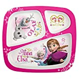 Zak Designs Disney's Frozen 3-Sectioned Kids Mealtime Dinnerware Plate With Free Frozen Tote