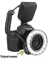 Innovation off: l'appareil tir de 360   degrés - Universal Macro 18 Grand Anneau LED Flash à 4 couleurs diffuseurs d'anneau + 8x conversion (49mm, 52mm 55mm, 58mm, 62mm, 67mm, 72mm, 77mm) pour Canon, Nikon, Olympus, Pentax (lumière continue et le support du flash)
