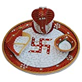 MARBLE POOJA THALI WITH SWASTIK PAINTED