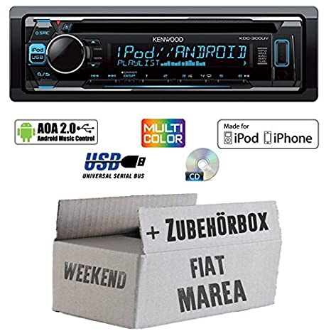 Fiat Marea & Weekend 185 - Kenwood KDC-300UV - CD/MP3/USB VarioColor Autoradio - Einbauset