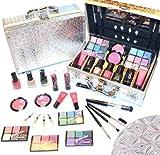 Schöne Kosmetik Make-up ALU Koffer mit Reliefmuster Schminkkoffer 42 tlg.(e941) (Außenmaße ca.: L-25cm x B-17cm x H-8,5cm) Alles für ein professionelles Make-up: ALU rahmen Schminkkoffer mit sehr schönen Reliefmuster glanz (gefüllt) mit DEKOR...