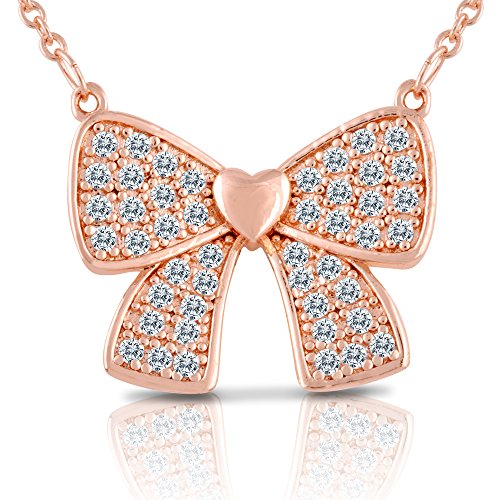 [Bow Tie Necklace - Rose Gold Plated Pendant Necklace - Jewelry for Teen Girls, Kids, Children,] (Unique Costume Ideas For Teenage Girls)