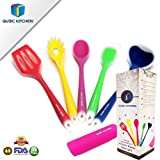 Kitchen Gift Set Range Cooking Utensils Includes 5 Pieces Premium Silicone Coated Non-Stick Turner Spaghetti Server Spoon Spatula Ladle and a FREE Garlic Peeler. Enhance Your Cooking Experience Now!