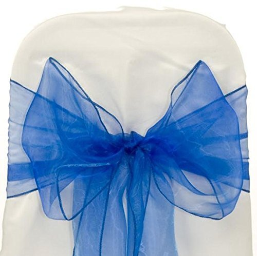 100 Pcs Romantic Organza Chair Bow Sash Sashes Wedding Banquet Party Decor By D&A (Royal blue)