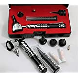 NEW Incredible STAINLESS STEEL 3.2V Pro LED OTOSCOPE Set w/Hard Case + FREE BATTERIES+1 BULB-BLACK