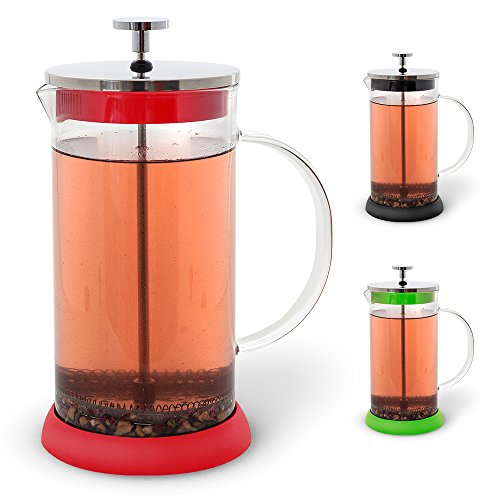 Teabloom French Tea Press 34 oz, All Glass Body Tea and Coffee Press, Stainless Steel Filter Press, Removable Silicone Heat Resistant Base (Red) (Loose Tea French Press compare prices)