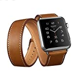 Apple Watch Double Tour Band, Apple Watch Band Leather,genuine Leather Band Cuff Bracelet Leather Watchband With... - B0191FJC08