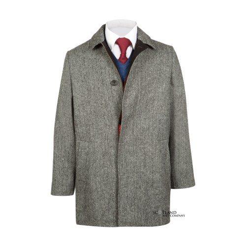 Mens Grey Herring Bone Harris Tweed Limited Edition Skye Coat By Brook Taverner