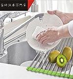 水切りラック,YIFAN ステンレス製 折りたたみ シンク乾燥ラック キッチン用品 38cmステンレススチール キッチンオーバードライヤー フルーツ水切り棚ラック ホルダーディッシュ野菜
