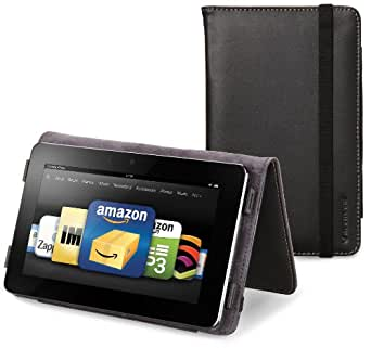 Marware Eco-Vue Genuine Leather Case Cover for Kindle Fire, Black (will not fit HD or HDX models)