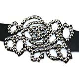 Black Musk Rose Crystal On Faux Suede Band Bracelet With Button Clasp