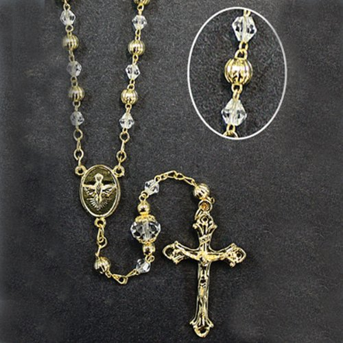 Gold-Plated Rosary with 5mm Glass and Gold Filigree Beads with 11