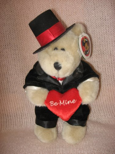"1 X 2002 Starbucks Bearista 10"" Plush ""Be Mine"" Bear in Tuxedo - 1"