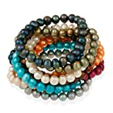 Genuine Freshwater Cultured 8x6mm Multi Color Pearl Stretch Bracelets (Set of 10)