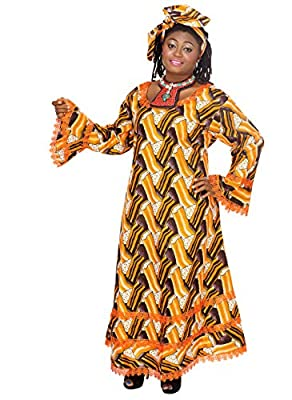 African Planet Women's 2 PC Dress Ethnic Nigerian Lace Flared Hem Headwrap