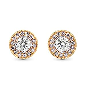 0.35Cts Colorless Diamond Halo Earrings Set in 18K White Rose Gold