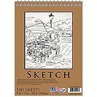 "U.S. Art Supply 9"" x 12"" Premium Spiral Bound Sketch Pad, Pad of 100-Sheets, 60 Pound (100gsm) from US Art Supply"